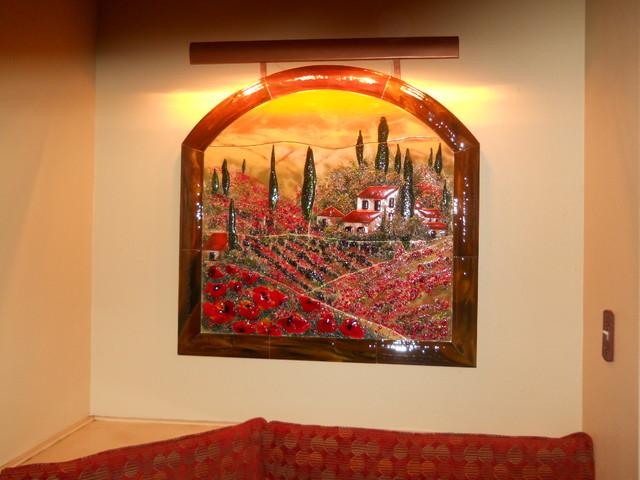 Tuscan Poppy Wall Mural mediterranean-kitchen