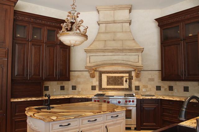 Tuscan Stone Vent Hood Mediterranean Kitchen Houston