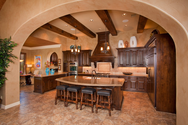 Tuscan style home by jim boles custom homes mediterranean kitchen other metro by jim Custom luxury home design ideas