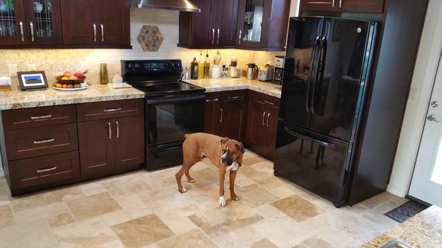 Tuscany Blend Travertine Flooring and Granite Mini-Slab Remodel w ...