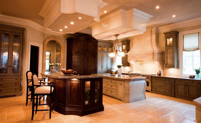 Tuscany Walnut Travertine Kitchen Floor - Traditional ...