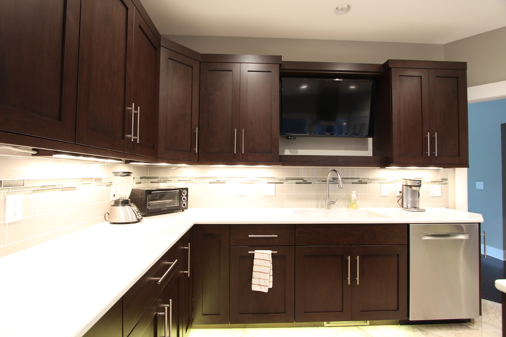 Tv Above Kitchen Sink Flanked By Dark Cabinets Transitional Kitchen Other By Denise Quade Design