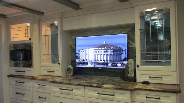 TV monitor of actual view of Catalina Island traditional-kitchen