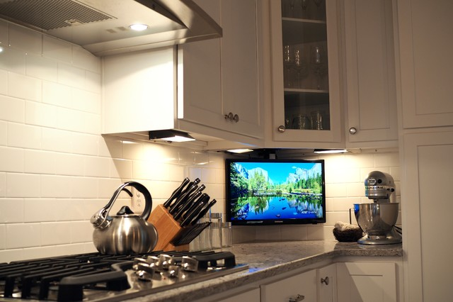 tv mounted under kitchen counter. Black Bedroom Furniture Sets. Home Design Ideas