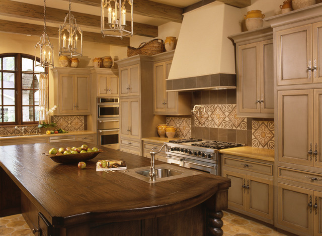 Superb Two Color Grey And Crème Kitchen Cabinets Mediterranean Kitchen