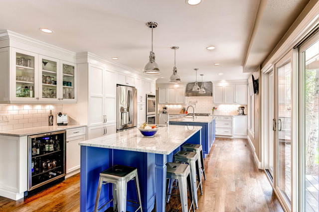 Two Island Kitchen Custom Color - Traditional - Kitchen - Denver ...