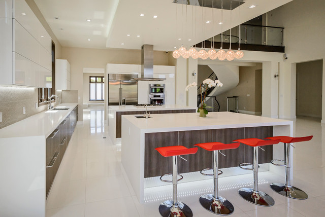 modern kitchen island with breakfast bar. Two islands with prep sink and breakfast bar contemporary kitchen  Contemporary