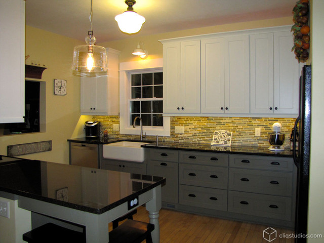 Two Tone Galley Kitchen Traditional Kitchen Milwaukee By Cliqstudios Cabinets