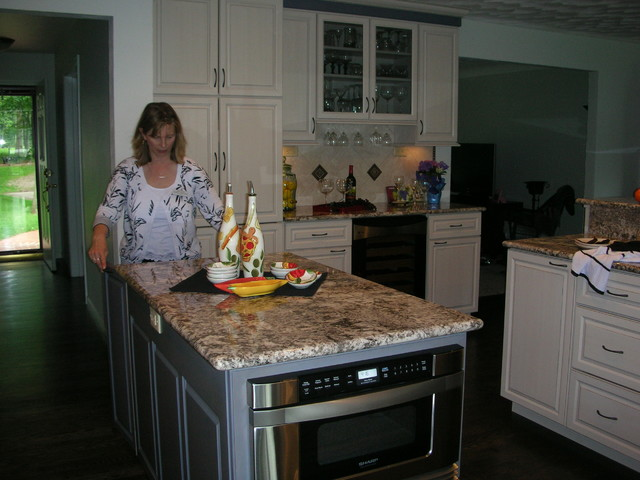 Two Tone Kitchen Remodel With Under Counter Microwave Drawer In The Island Contemporary