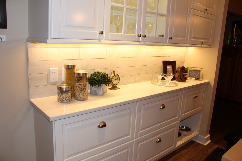 Two tone kitchen with custom island - Traditional ...