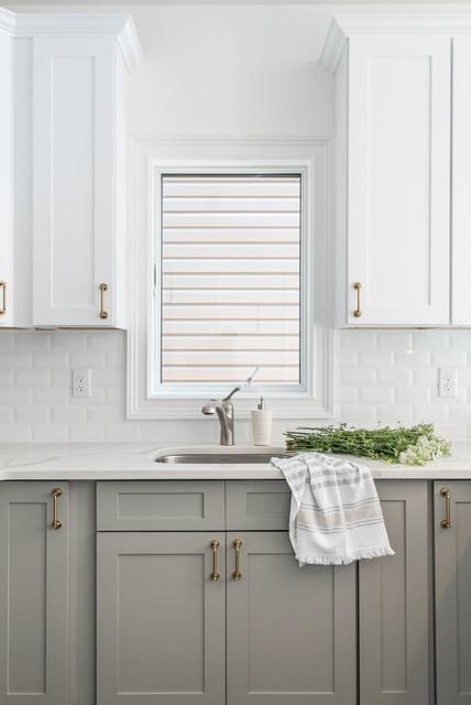 Two Tone White And Grey Kitchen