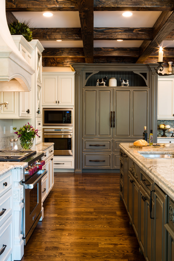 Two-Toned White and Gray Kitchen with Wood Beams St. Louis ...