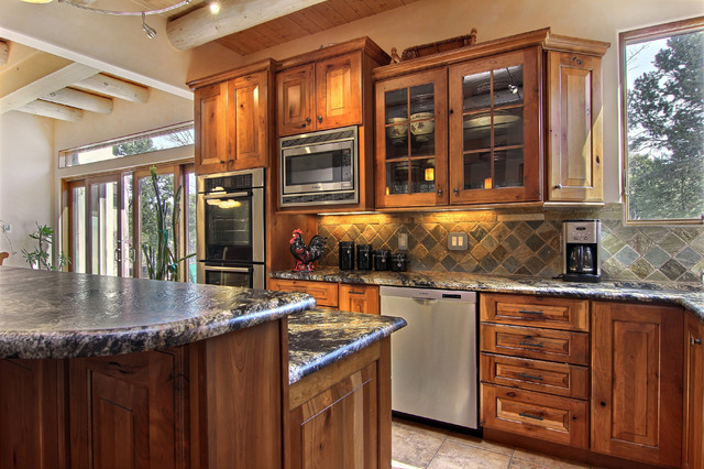 Two trails rustic kitchen albuquerque by roasted for Albuquerque kitchen cabinets