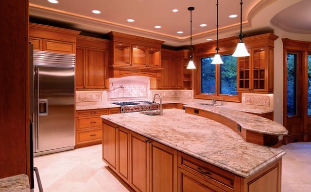 Typhoon Bordeaux Granite Countertop traditional-kitchen