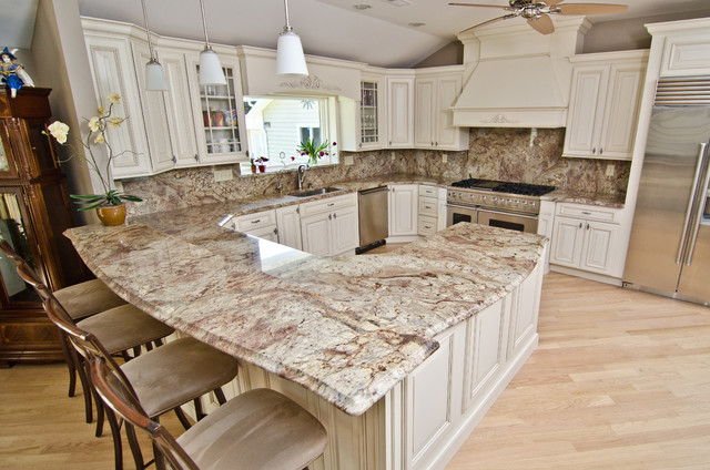 Typhoon Bordeaux Granite with Full Backsplash traditional-kitchen