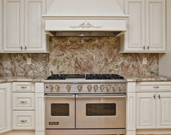Typhoon Bordeaux Granite with Full Backsplash traditional kitchen