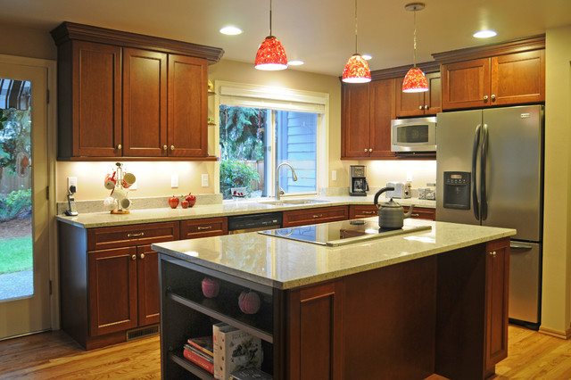 Marvelous U Shape Kitchen With Red Pendant Lighting Over Island Transitional Kitchen