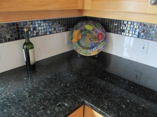 Uba Tuba Granite Backsplash Ideas Part - 33: Uba Tuba Granite Counter Top W/ Glass Mosaic And Subway Back Splash  Transitional-kitchen