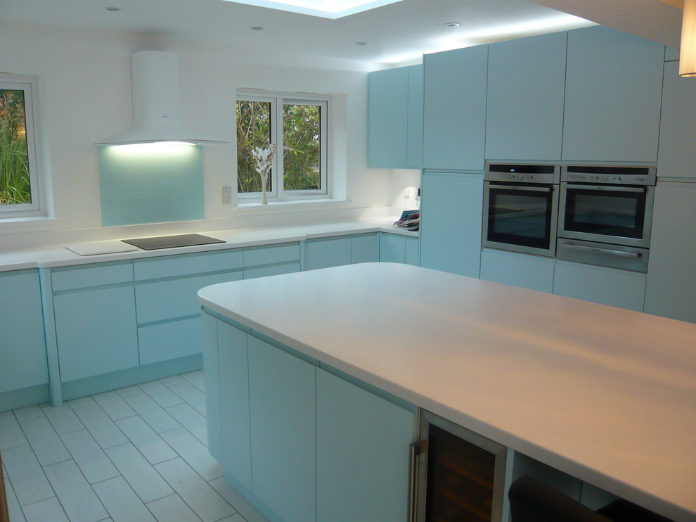 Ultima Duck Egg Blue Handle Less Kitchen Modern Kitchen Sussex By Hks Interiors Ltd Houzz