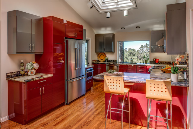 Ultra Contemporary, Red, High Gloss Kitchen - Modern - Kitchen - other metro - by Gilmans ...