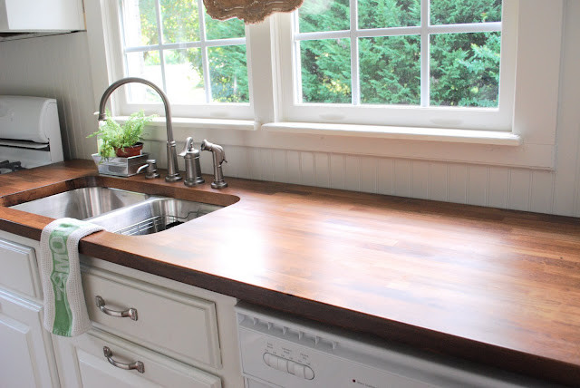 Undermount Sink Butcher Block Counter Traditional