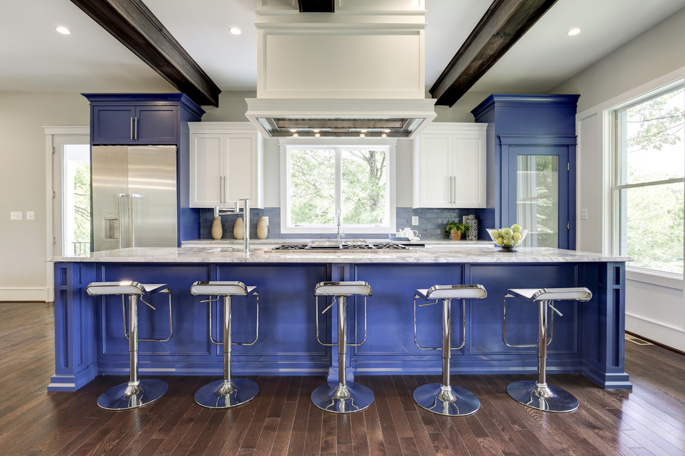 Example of a mid-sized trendy galley dark wood floor open concept kitchen design in DC Metro with shaker cabinets, blue cabinets, marble countertops, stainless steel appliances and a farmhouse sink