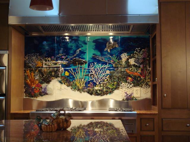 Underwater Scene Backsplash tropical-kitchen