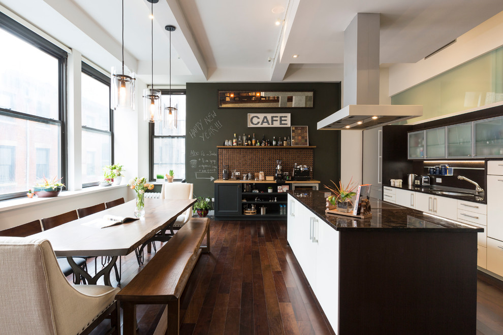Inspiration for a contemporary l-shaped dark wood floor eat-in kitchen remodel in Los Angeles with flat-panel cabinets, white cabinets, an island, stainless steel appliances and an undermount sink