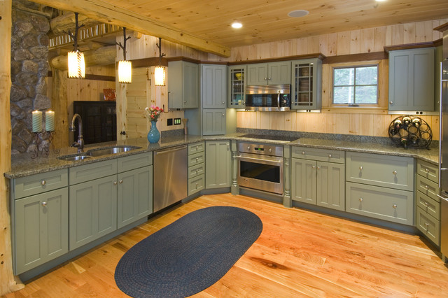 Mountain Style Kitchen Photo In Boston With A Double Bowl Sink,  Recessed Panel