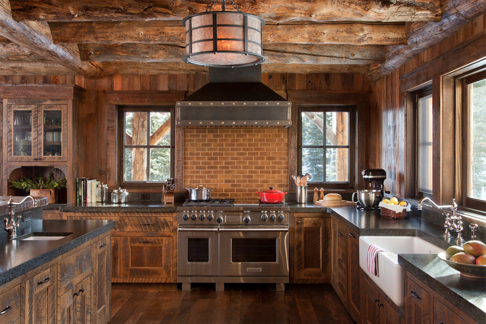 Inspiration for a rustic kitchen remodel in Other with stainless steel appliances
