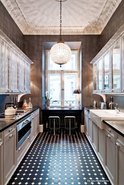 black and white floor tile kitchen. Kitchen with black and white floor tile in NYC townhouse transitional  kitchen
