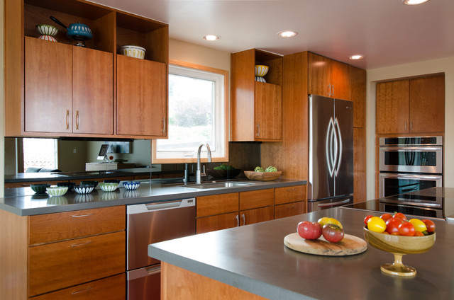 Upper alki kitchen remodel midcentury kitchen for Mid century modern kitchen cabinets