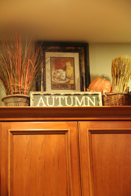 Upper Kitchen Cabinets Decorated For Fall Traditional