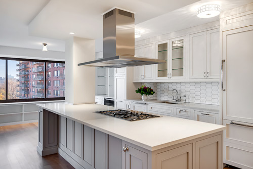 Pett & Associates designed this sleek modern NY kitchen with Caesarstone quartz in London Grey