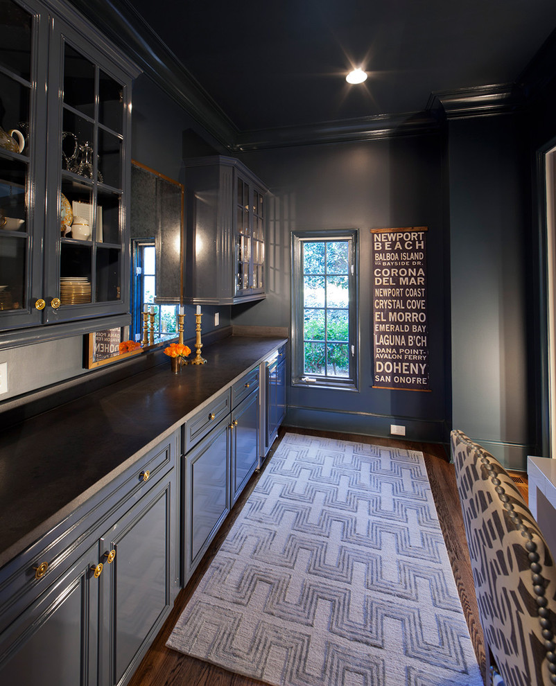 Kitchen - traditional kitchen idea in Charlotte with blue cabinets