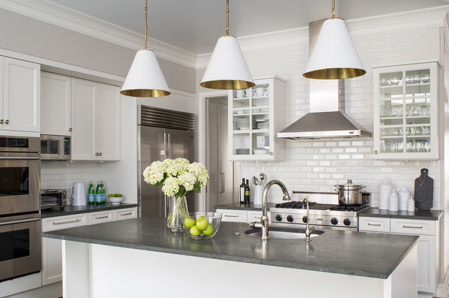 White Kitchen Grey Countertop urban elegance - transitional - kitchen - chicago -wendy