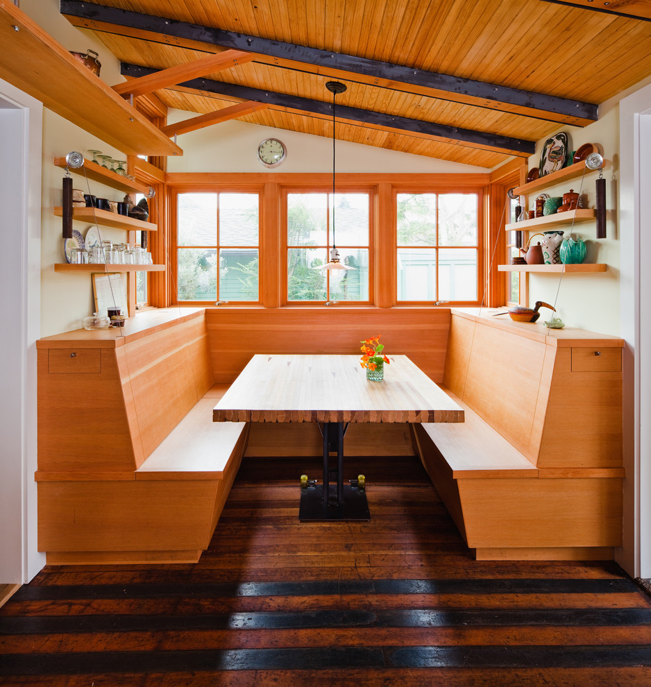 Inspiration for an eclectic l-shaped medium tone wood floor eat-in kitchen remodel in San Francisco with flat-panel cabinets and light wood cabinets