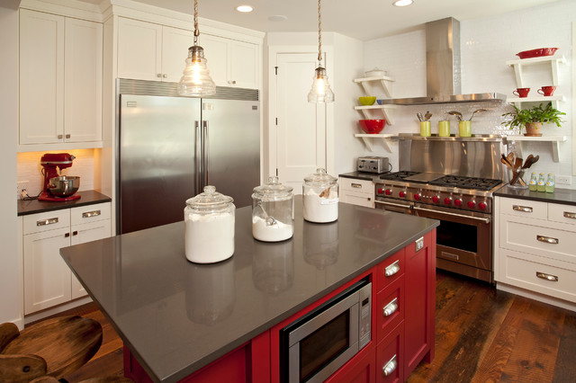 Cottage kitchen photo in Minneapolis with white cabinets, white backsplash, subway tile backsplash and stainless steel appliances