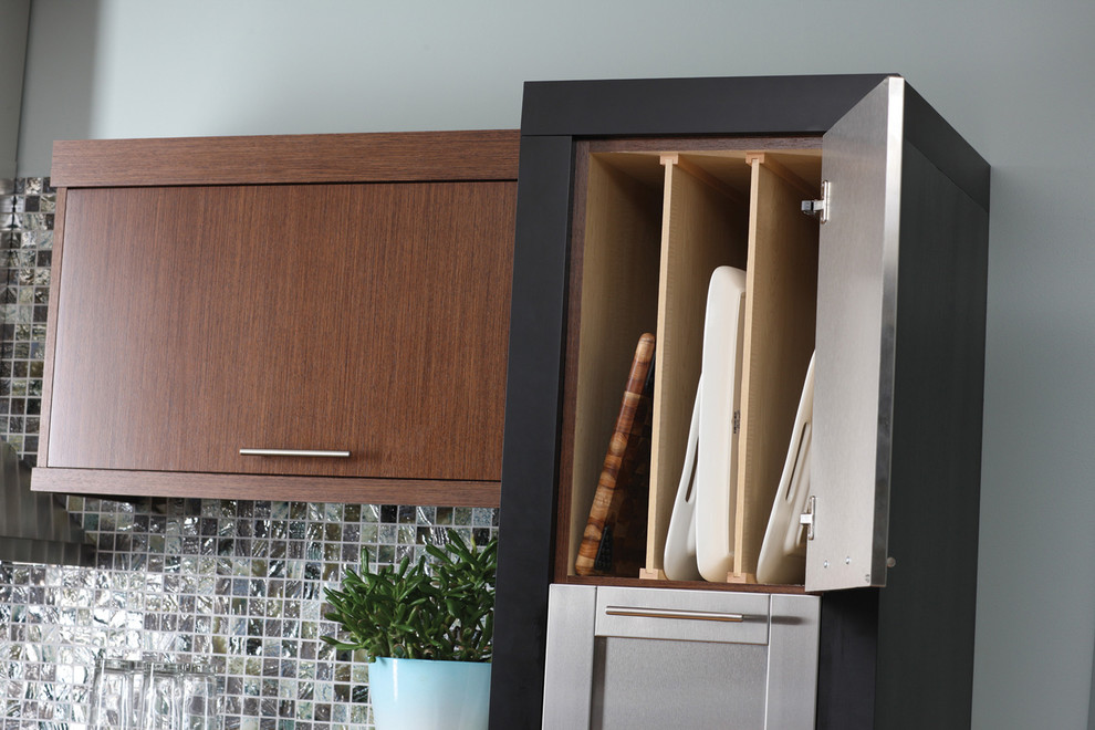 Example of a large trendy l-shaped light wood floor eat-in kitchen design in Minneapolis with an undermount sink, flat-panel cabinets, medium tone wood cabinets, quartzite countertops, multicolored backsplash, mosaic tile backsplash, stainless steel appliances and an island