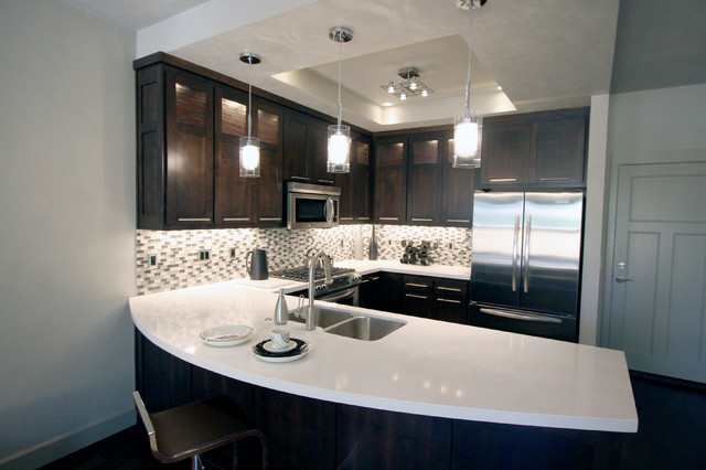 Urban Townhome Kitchen with Espresso Cabinets and White Quartz Counters