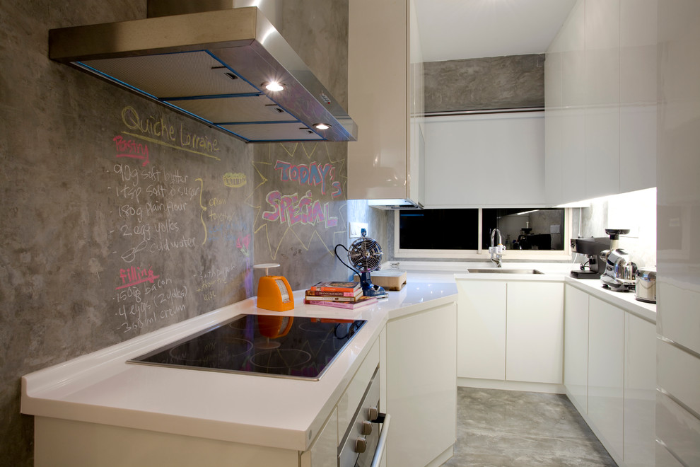 Trendy enclosed kitchen photo in Other with flat-panel cabinets and white cabinets