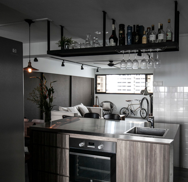utilitarian apartment industrial kitchen other metro
