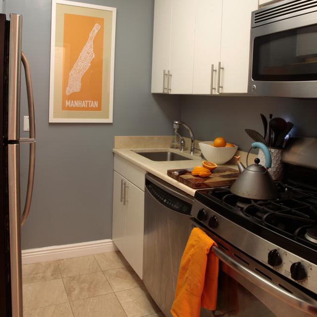 UWS 1 Bedroom Interior Design contemporary-kitchen