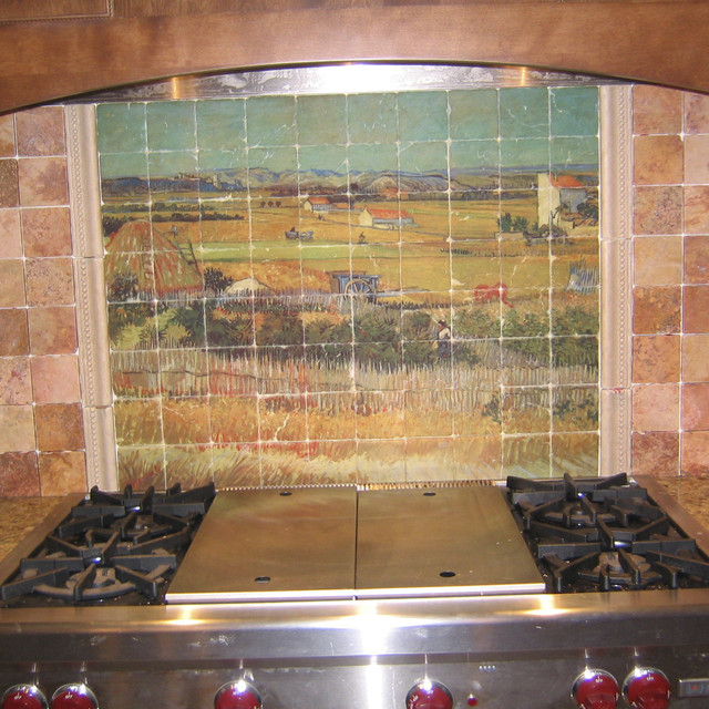 Van Gogh Marble Tile Mural In Rustic Kitchen Backsplash