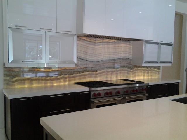variegated onyx backsplash modern kitchen miami by day one