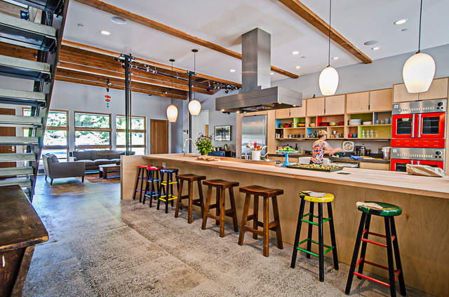 Vashon Barn Conversion Industrial Kitchen