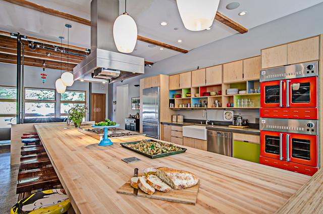 Vashon barn conversion industrial kitchen seattle for Modern barn kitchen