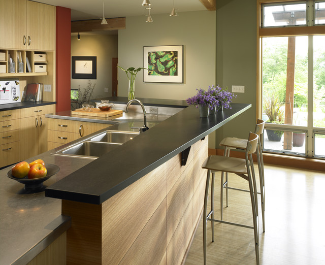 Contemporary Kitchen Idea In Seattle With A Drop In Sink, Flat Panel  Cabinets
