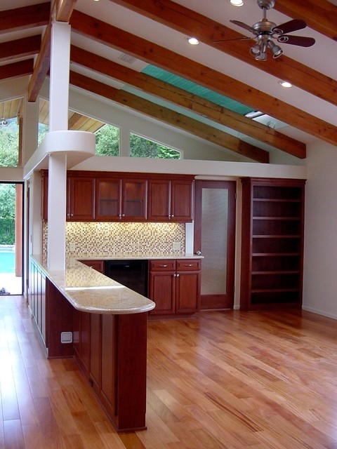 Vaulted ceiling with cherry cabs contemporary-kitchen