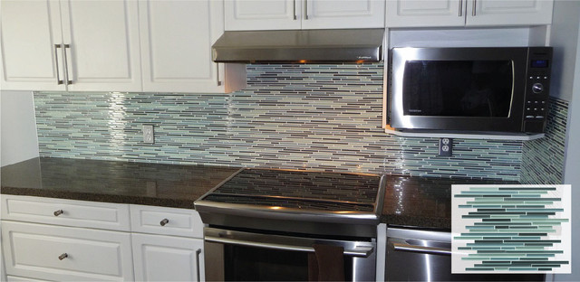 Vegas Fine Lines Stick Mosaic Tile Backsplash - Traditional ...
